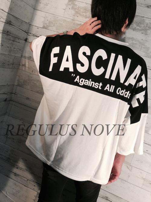 配色切替ロゴプリントスムースBIG半袖Tシャツ WHITE ユニセックス レディース メンズ オーバーサイズ 大きいサイズ 派手 個性的 ストリート ロック