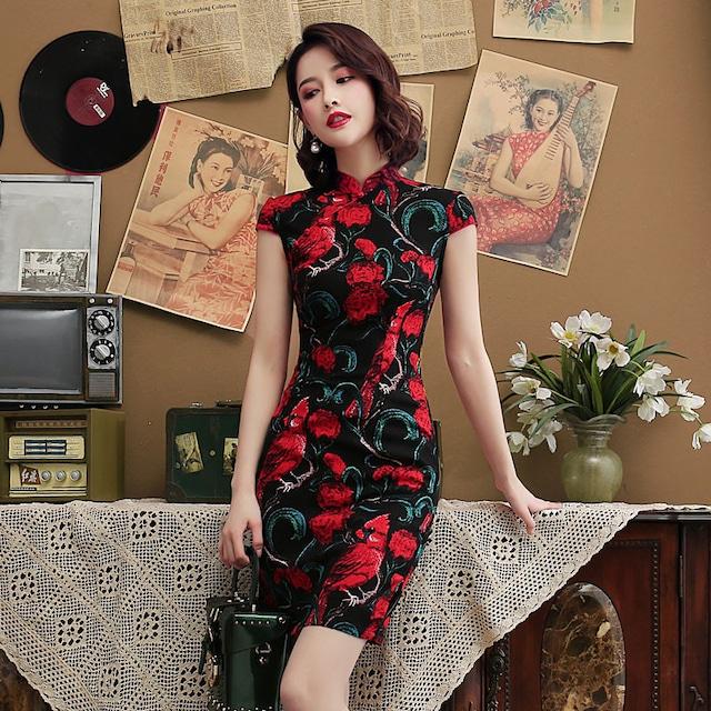 チャイナドレス ワンピース スタンドネック 半袖 ショート丈 着痩せ 大きいサイズ S M L LL 3L 4L 5L 6L