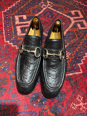 .GUCCI GG PATTERNED EMBOSSED LEATHER HORSE BIT LOAFER MADE IN ITALY/グッチシマGG柄型押しレザーホースビットローファー 2000000050218