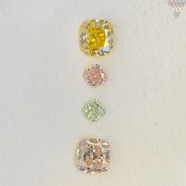 合計  0.85 ct 天然 カラー ダイヤモンド 4 ピース GIA  2 点 付 マルチスタイル / カラー FANCY DIAMOND 【DEF GIA MULTI】