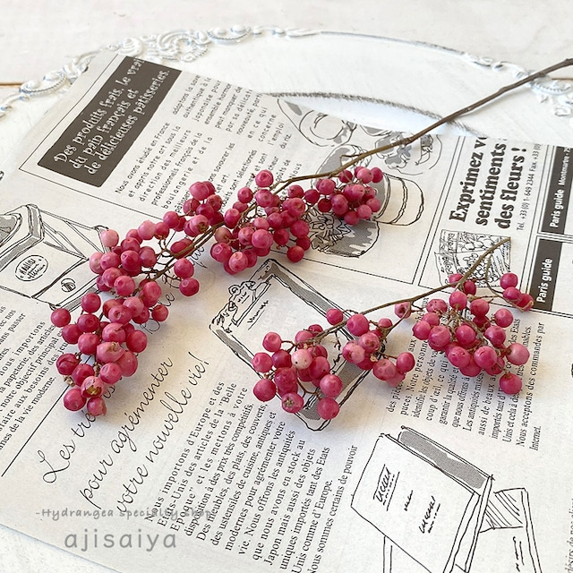 枝付き ペッパーベリー ピンク&オフホワイト ドライフラワー