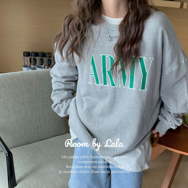 【即納】ARMY / トレーナー (gray) LE202231
