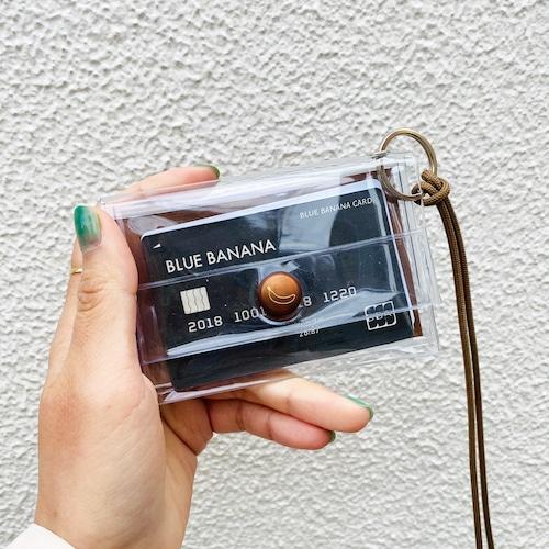 ブルーバナナIDカードケース/クリア×ブラウンボタン