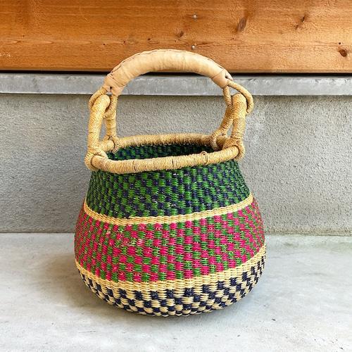 ボルガバスケット 壺型かご ナチュラル革ハンドル