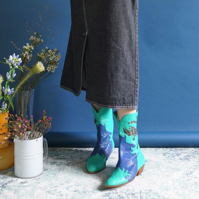 """【送料無料】90's """"Baldinini""""Green Blue Leather with Braided Pattern High quality boots /Size 36h"""