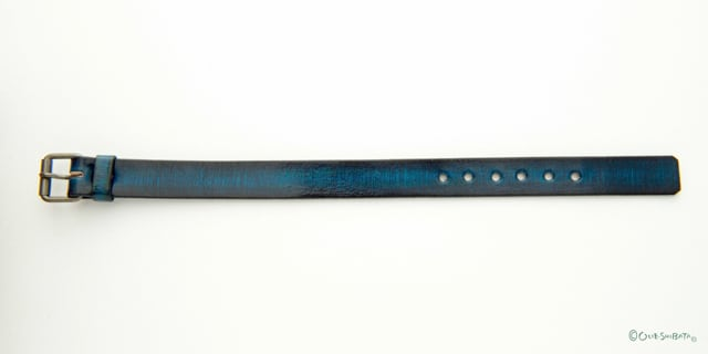 木版染革ベルト青色M