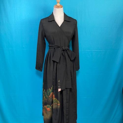 Vintage black kimono dress/ US 6 落款
