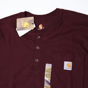 【Carhartt】Henley Neck T-Shirts  カーハート ヘンリーネックtシャツ アメリカ企画 新品 ワインレッド A734