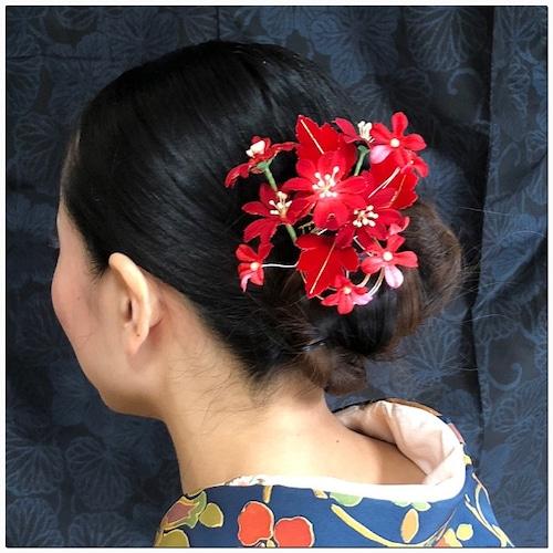 送料無料 髪飾りセット 金 赤 櫛  成人式 1999