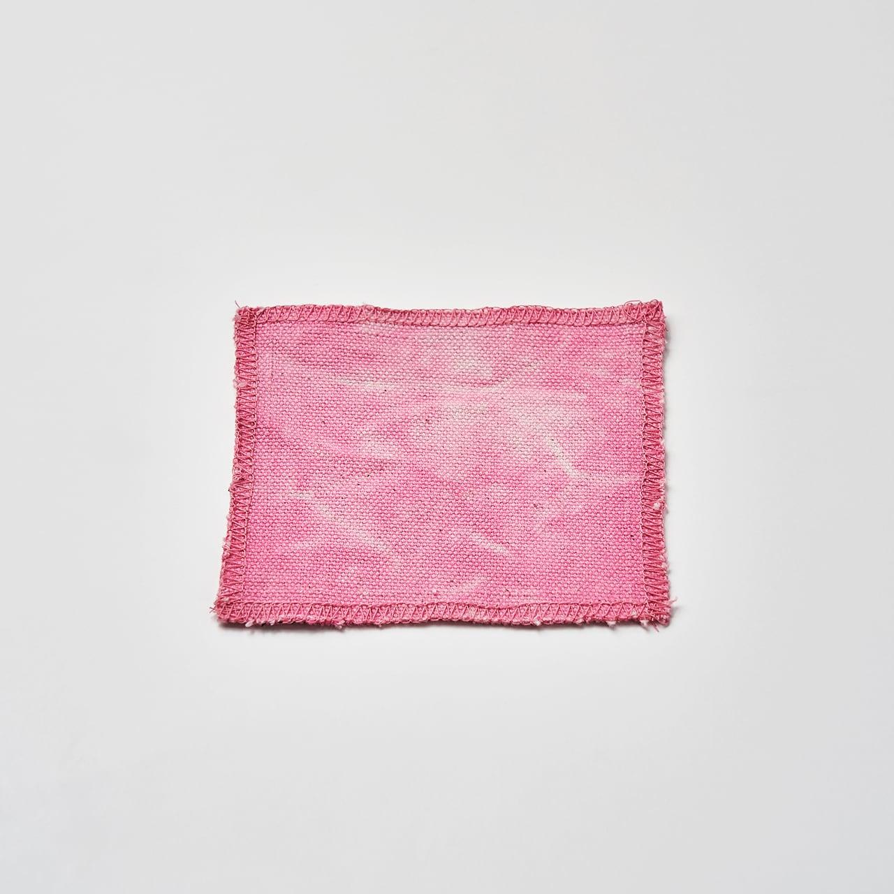 帆布で作ったコースター(ピンク) 10cm×10cm