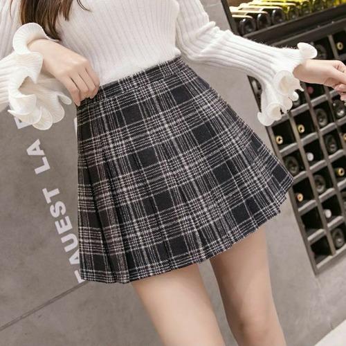 【★送料無料★】プリーツスカート チェック柄 韓国ファッション ミニスカート ブルー ハイウエスト かわいい レディース DCT-578871621357