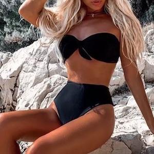 Bikini♡シンプルバンドゥハイウエストビキニ ブラック