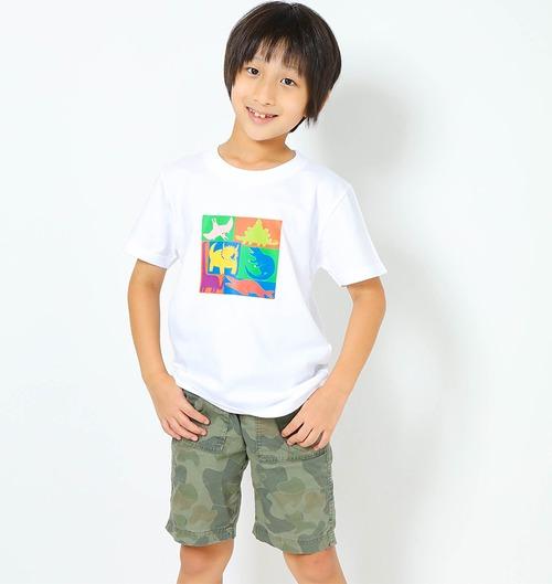 恐竜プリントTシャツ(子供用キューブプリント)ホワイト