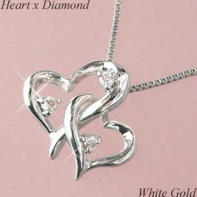 ダイヤモンド ネックレス 18金ホワイトゴールド ハート ダブル ペンダント レディース