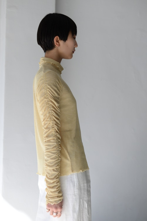 Create Clair / Shirring sleeve pullover (lemon)