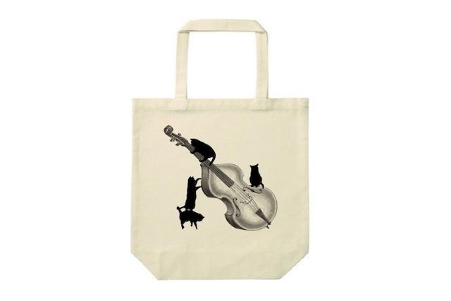 コントラバスと黒猫のトートバッグ