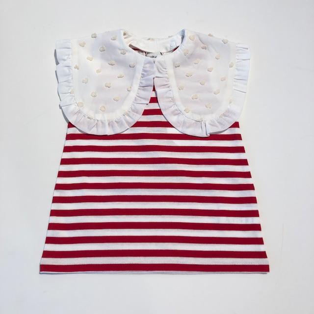 【21SS】フランキーグロウ ( frankygrow) REMOVABLE BONBON CUT JQ COLLAR NOSLEEVE TEE[ LL ]RED*WHborder×blackBKBONBON Tシャツ トップス