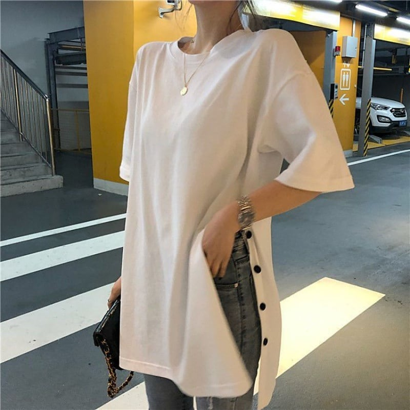 サイドスリットロングTシャツ(ホワイト・グレー・ブラック) カジュアル ボタン