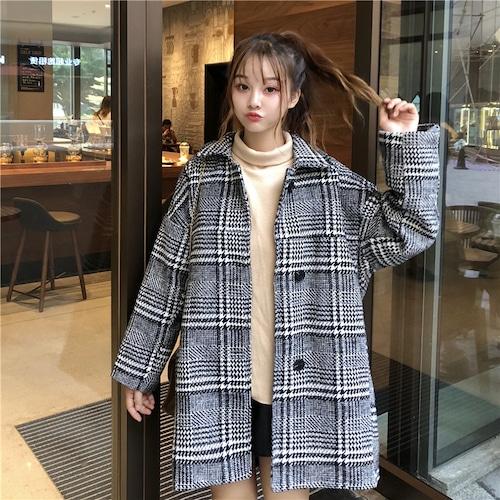 チェックコート グレー 韓国ファッション レディース コート チェック柄 アウター ウールコート レトロ DTC-603665766891_g