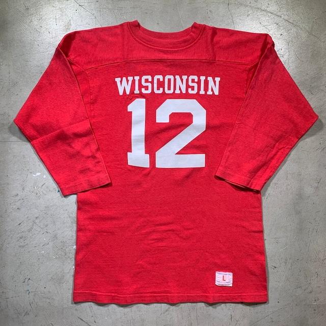 70's 80's Chamopion チャンピオン フットボールTee バータグ タタキタグ WISCONSIN ナンバリング 12 美品 赤 レッド LARGE USA製 綿100% 希少 ヴィンテージ BA-1504 RM1923H