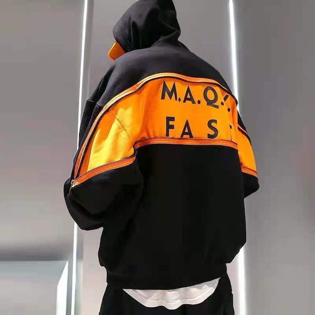 【トップス】ファスナー英字図柄ファッションストリート系男女兼用長袖パーカー53390061