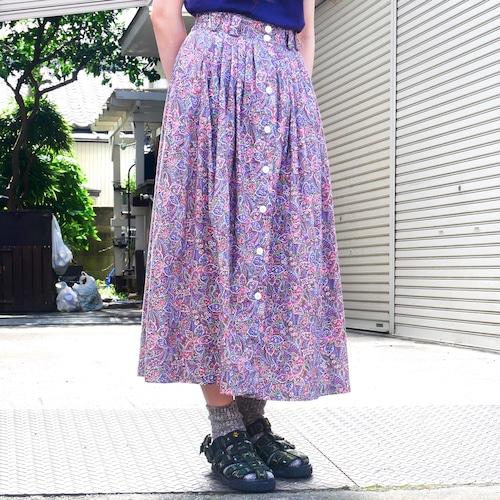 【USED】ペイズリー × 花柄 タック フレアスカート