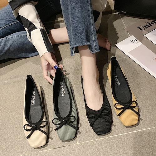 パンプス リボン フラットシューズ スクエアトゥ ぺたんこ 韓国ファッション レディース フラットパンプス フラット キュート 痛くない かわいい 歩きやすい 601568138480