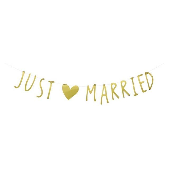 手書き風 JUST MARRIED ウェディング ガーランド バナー