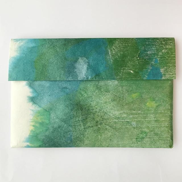黒谷和紙の一つポケットホルダー(黄緑)