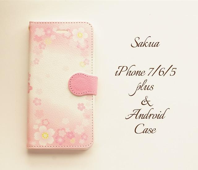 桜 iPhone/Android ケース【受注制作】手帳 アイフォンケース スマホケース