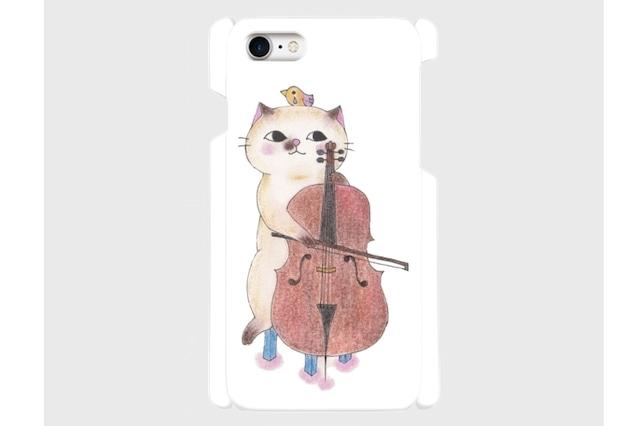 (iPhone用)チェロ猫のスマホケース/白