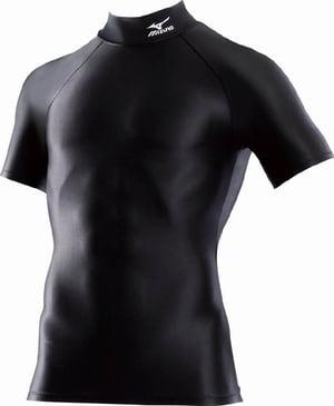 mizuno ドライアクセル バイオギアシャツ ハイネック半袖 ブラック Oサイズ