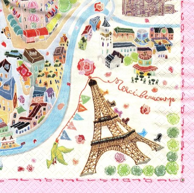 【Aimez le style】バラ売り1枚 ランチサイズ ペーパーナプキン パリの絵地図 クリーム
