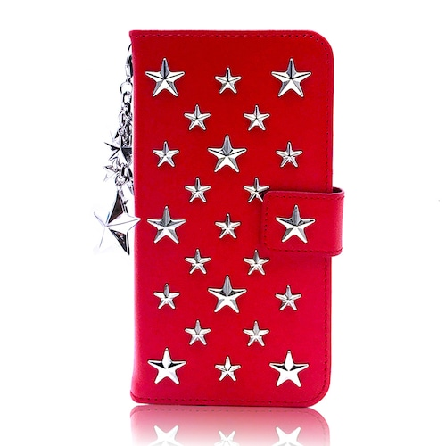 ENLA BY ENCHANTED.LA NOTEBOOKTYPE LEATHER STARS CASE FULLSTAR STAR CHARM / RED