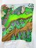 """Vintage FABRIC ART """"the japanese garden """" T Shirt Made In USA"""