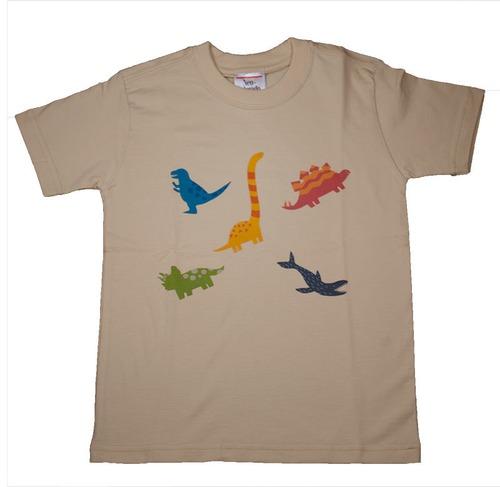 恐竜プリントTシャツ(子供用・恐竜ミックス)ベージュ【KT-AS】
