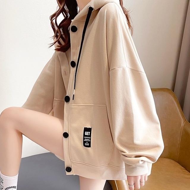 【アウター】上品な可愛さ韓国風ファッションプリントフード付きシンプルカーディガン51480349