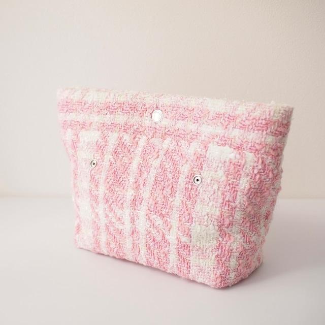 ハンドバッグ《Hana》ファブリックパーツ ピンク ツイード 格子模様