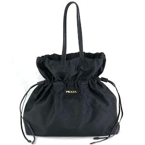 PRADA プラダ ナイロン ショルダーバッグ トートバッグ 巾着 クロコ型押し フロント ロゴ ブラック vintage ヴィンテージ オールド rvpbed
