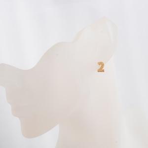 数字 シングルピアス  SV925 Numéro 2 ゴールドコーティング