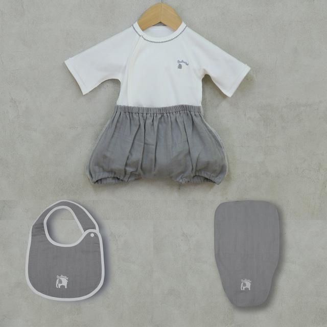 出産祝い ギフトに! 可愛くて着替えやすいカバーオール ラクラクふわふわバルーンオール/スタイ/汗取りパッドのセット(日本製)(送料無料)
