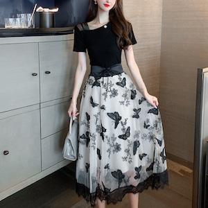 女性らしい バタフライ ウエスト絞り 半袖 Tシャツ+スカート セットアップ <ins-1964>