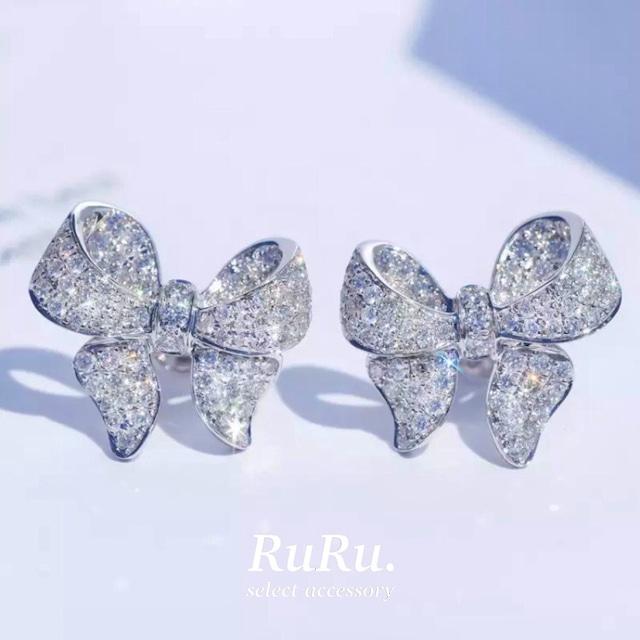 angel ribbon pierce / silver 925