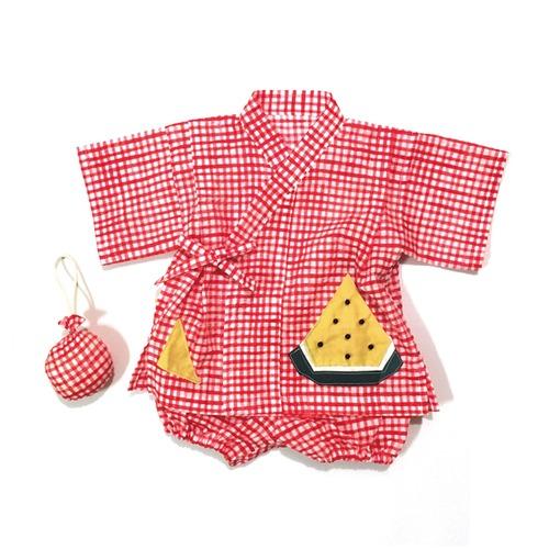 赤ちゃんじんべい 赤チェック × スイカ