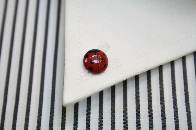 てんとう虫(赤)の漆塗りのボタンダウンピアス。 1点1点石川県の山中塗りの職人が白蝶貝に漆で手描きで作っています。