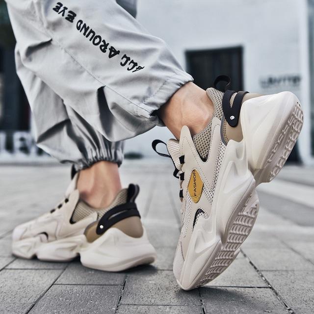【潮董シリーズ】★スニーカー★ 3color ベージュor黒or白 メンズ 靴 シューズ シンプル ファッション