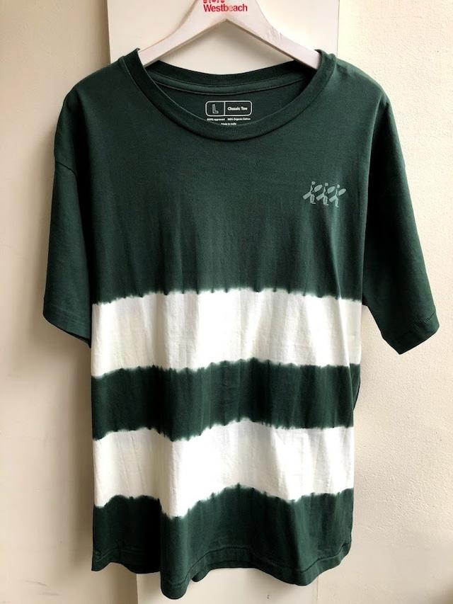 WESTBEACH ORGANIC COTTON TEE -Tie Dye  Hunter Green Stripe-