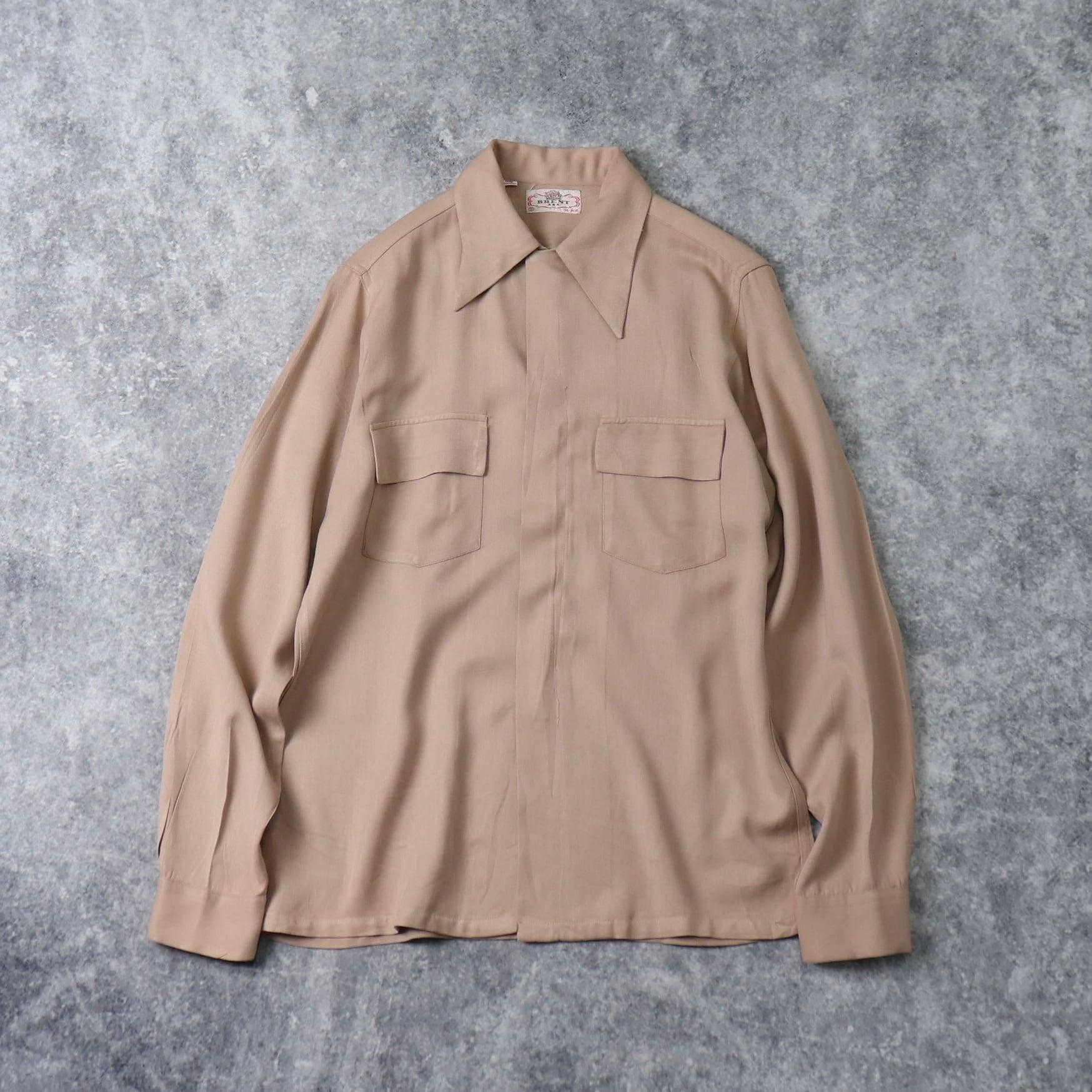 40年代 ''BRENT'' 珍品 ギャバシャツ ロカビリー 古着 ビンテージ A369