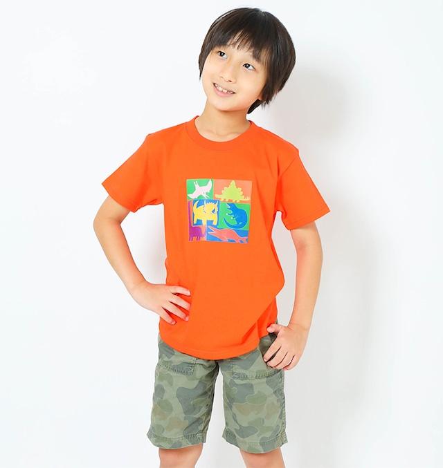 恐竜プリントTシャツ(子供用キューブプリント)カリフォルニアオレンジ