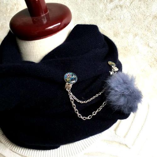【マフラーや帽子留めに】クリップチェーン(シルバー金具・ファー付 全4色)